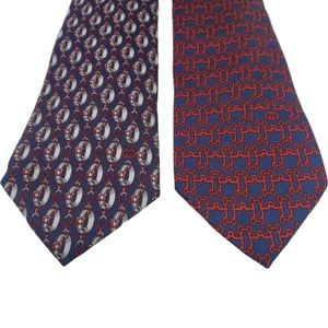 2 Gucci Red Blue Chain Silk Italian Ties